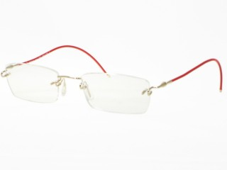 Kazuo Kawasaki Eyewear 639B White Gold  Red JH Shape Eyeglasses