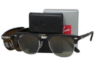 Ray Ban RB2176 Folding Clubmaster 901S/M8 Black Polarized Sunglasses