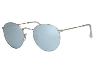 Ray Ban RB3447 Round Metal 019/30 Matte Silver Sunglasses
