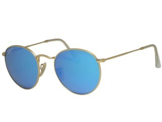 Ray Ban RB3447 Round Metal 112/4L Matte Gold Polarized Sunglasses