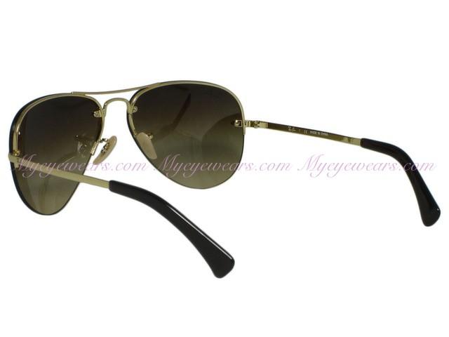 e9a5700b68676 Ray Ban-Ray Ban RB3449 001 13 Gold Rimless Aviator Sunglasses 59MM ...