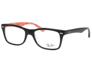 Ray Ban RX5228 2479 Black On Red White Texture