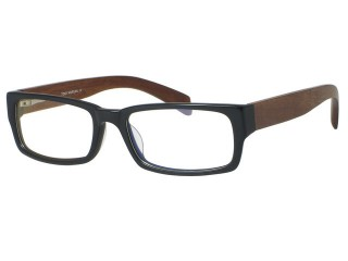 Genuine Wood Tony Morgan 3150 Matte Black Vintage style Eyeglasses
