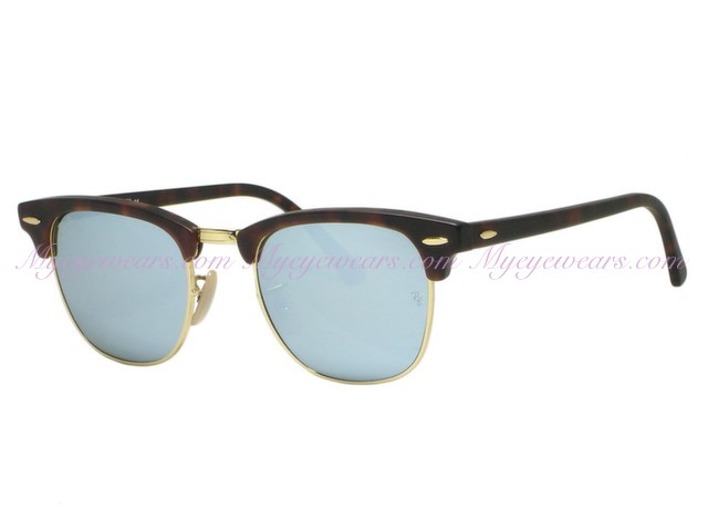 Clubmaster Sunglasses in Sand Havana Gold Light Green Silver Mirror RB3016 114530 51 Ray-Ban jhz6QYYBj
