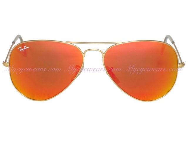 5d7572df1d5 Ray Ban-Ray Ban RB3025 Aviator 112 69 Matte Gold Orange Mirror ...