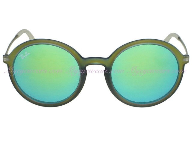 4e83a9cfe2 Ray Ban-Ray Ban RB4222 Round 6169 3R Shot Green Rubber- - Online ...